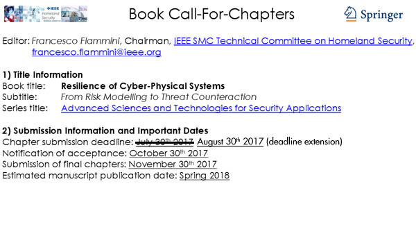 Call for Chapters: Resilience of Cyber-Physical Systems